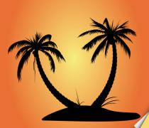 Palmtree Island Silhouette Vector