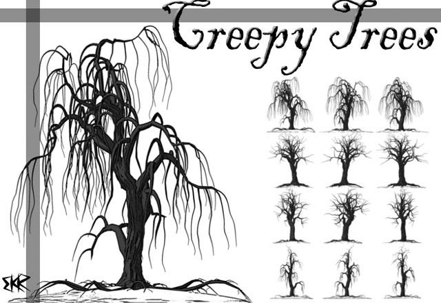 Creepy Tree Brushes Tree Vector