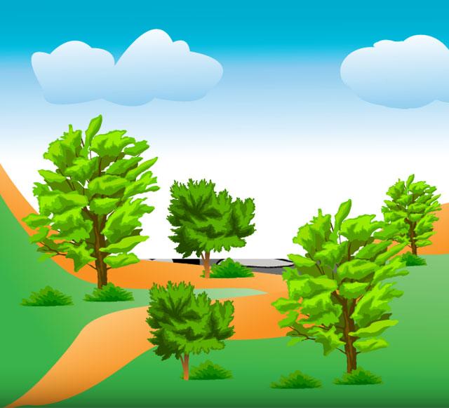 Mountain Trees Tree Vector