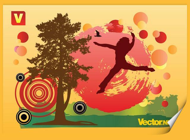 Autumn Fun Tree Vector