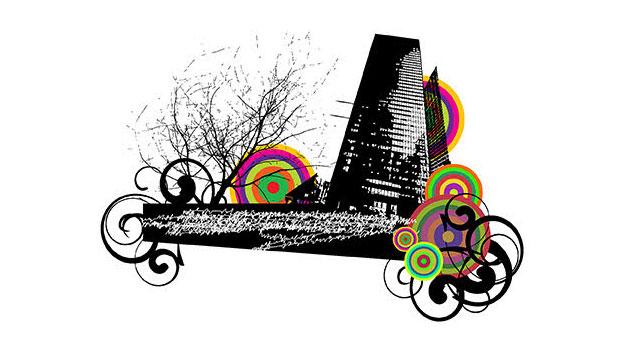 City urban Tree swirl circle Tree Vector