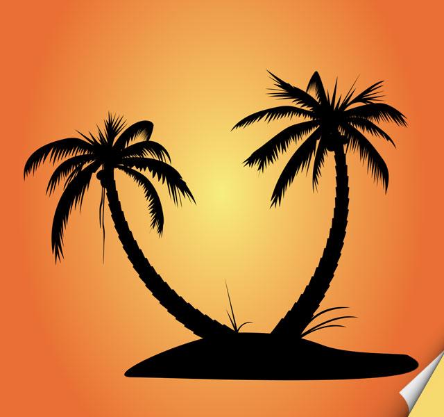 Palmtree Island Silhouette Vector Tree Vector