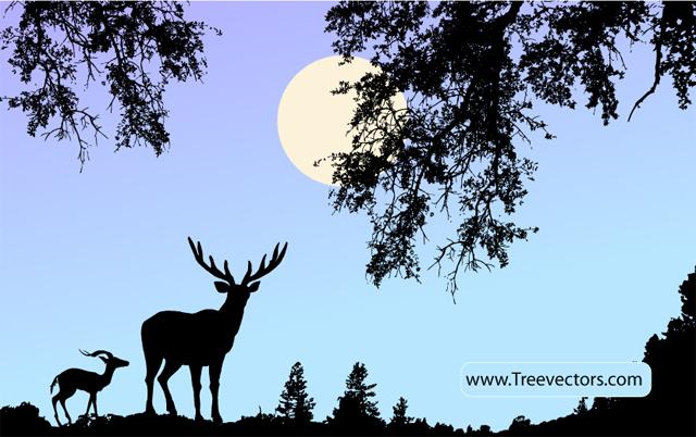 Nature Scene Vector with Deer Tree Vector