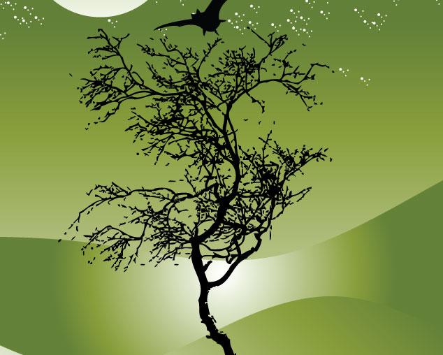 Tree with Moon Tree Vector