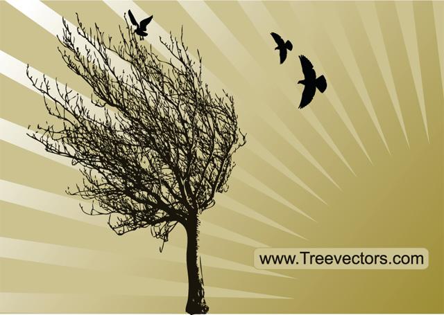 Vector Tree Silhouette with Birds Tree Vector