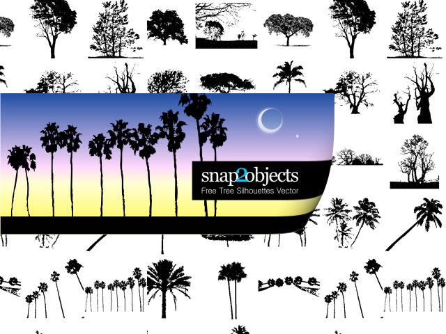 Free Tree Silhouette Vectors Tree Vector