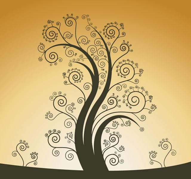 Curl Tree Design Vector Tree Vector